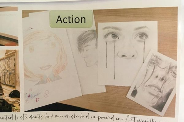 One of the actions which an art teacher took as part of her enquiry. She realized that her KS3 pupils believed you were either good or bad at art so she invited a sixth form student to come and present to the class a series of self portraits from age 11 to age 17 to show how practicing and improving meant she got a lot better!